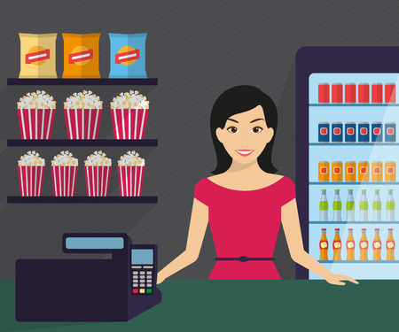 mujer en el supermercado: La mujer está trabajando en la tienda. Ilustración plana moderna