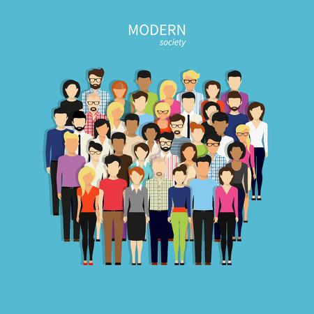hombres maduros: Grupo de personas sobre fondo azul. Dise�o moderno plana
