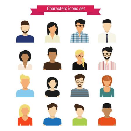 persone nere: Vector characres icone insieme di persone moderne isolato su bianco Vettoriali