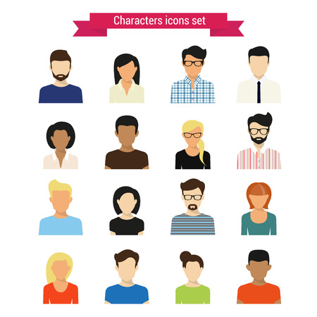 black person: Vector characres icons set of modern people isolated on white