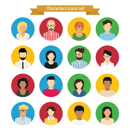 Vector characres Runde Icons Set des modernen Menschen isoliert auf weiß Illustration