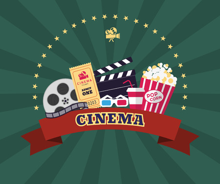 Collection of cinema industry symbols. Pop corn, 3d glasses, ticket, film