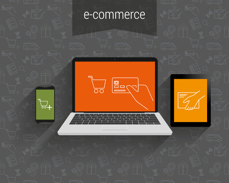 payment: E-commerce vector illustration. Laptop, tablet pc and smartphone with contour symbols
