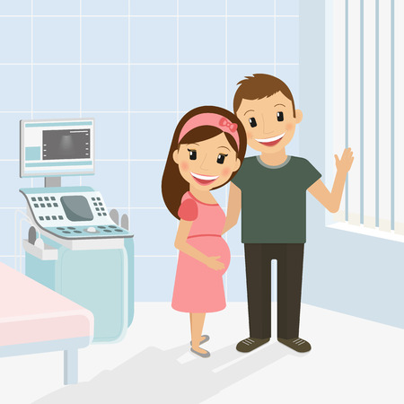 Pregnant woman with husband in hospital after ultrasound examination Illustration