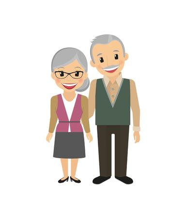 Abuelos felices aislados en blanco ilustración vectorial