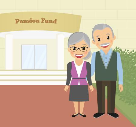 Happy grandparents standing near pension fund. Vector illustration