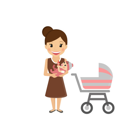mother holding baby: Happy mom with little baby and buggy