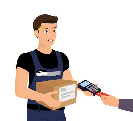 Hombre de servicio de entrega y pago con tarjeta de crédito