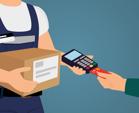 Payment by credit card for express delivery Иллюстрация