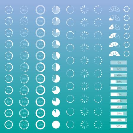barra: Conjunto de barras de progreso de contorno con porcentajes Vectores