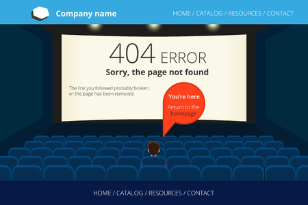 not open: Page not found Error 404 design in the empty cinema. Free font Open Sans