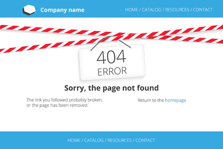 not open: Page not found design with warning tapes with sign 404 error. Free font Open Sans