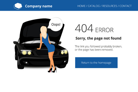 sans: Black car and blonde woman staying near with speech bubble. Page not found Error 404. Used free font Open Sans Illustration