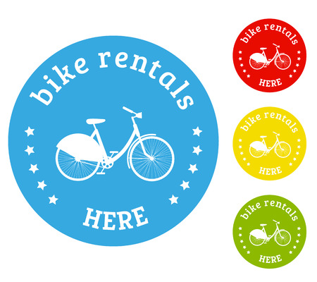 Bike rental icons set of four isolated elements white bicycle silhouette