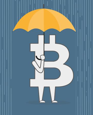 gold mining: Bit coin with an umbrella standing under rain. Vector cartoon