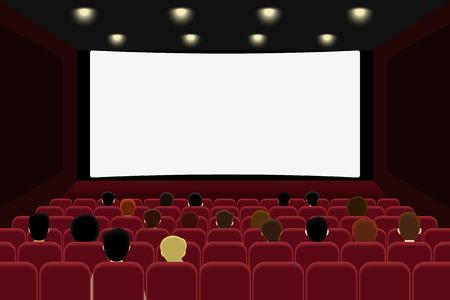 Ludzie oglądają film w kinie. Wektor illlustration