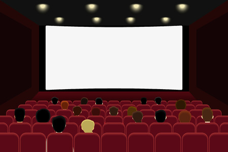 Mensen zijn film kijken in de bioscoop. Vector illlustration Stock Illustratie