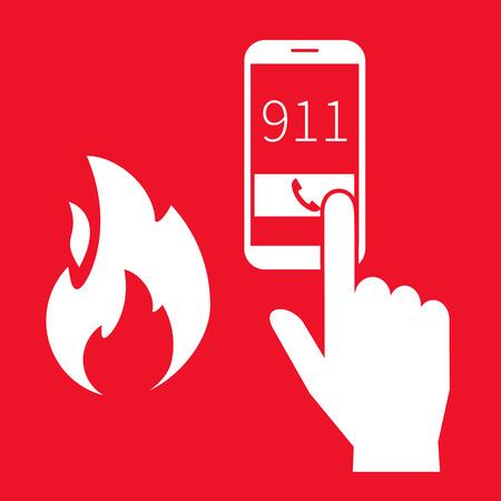 via: Emergency fire alert via telephone. Illustration on red background