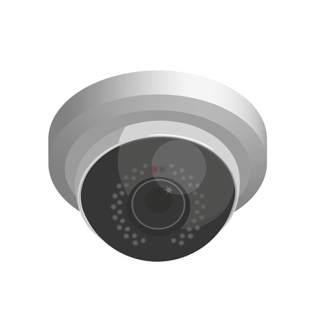 ccd camera: Ifrared domed cctv. Realistic illustration isolated on white Illustration