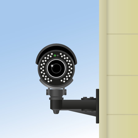 cctv camera: Ifrared black cctv fixed on the wall. Realistic vector illustration Illustration