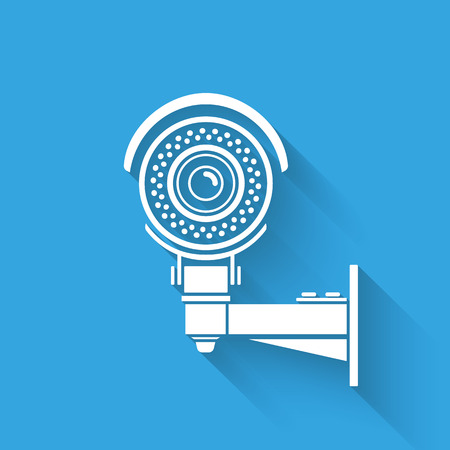 omnipresent: Ifrared white cctv icon with shadow. Isolated on blue Illustration