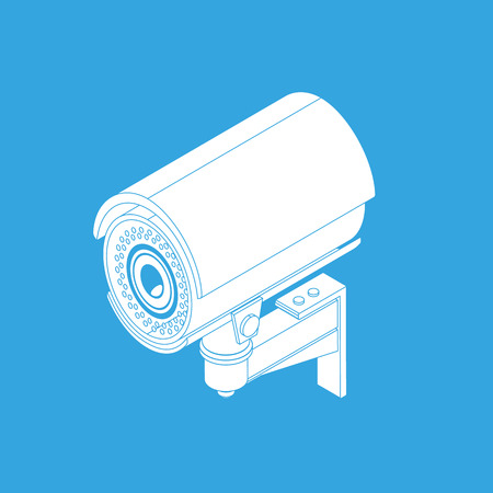 ccd camera: Ifrared white cctv icon with shadow. Isometric 3d view
