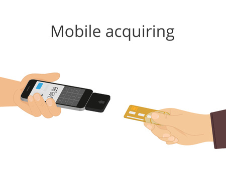 mail order: Mobile acquiring using smartphone. Conceptual illustration on white