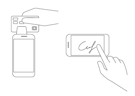 checkout line: Contour vector illustrations of mobile acquiring with signature via smartphone. Line thickness fully editable