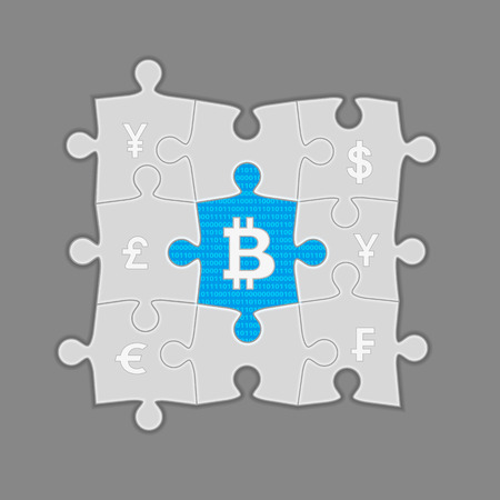 e cash: Puzzle with bitcoins in the center. Conceptual illustration on gray
