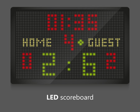 score board: LED scoreboard for sport games. Illustrated on gray background