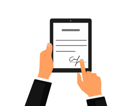 pen tablet: Business contract with signature on tablet pc. Flat vector icon Illustration