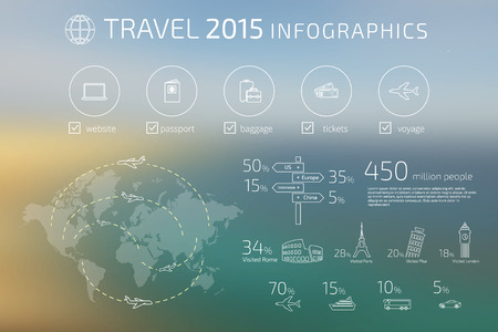 flight: Contour drawing of travel infographic template. Text outlined. Free font used - Exo 2 and Open Sans