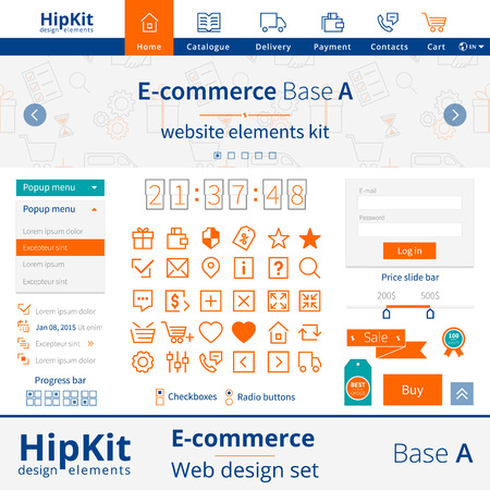 side bar: E-commerce web design elements set. Base A. Contains menu icons, seamless pattern for slider, popup menu, divider, progress bar, checkbox, radio button, price slide bar, authorization form, thirty icons, label, sale tape and best choice tag. Line thicknes