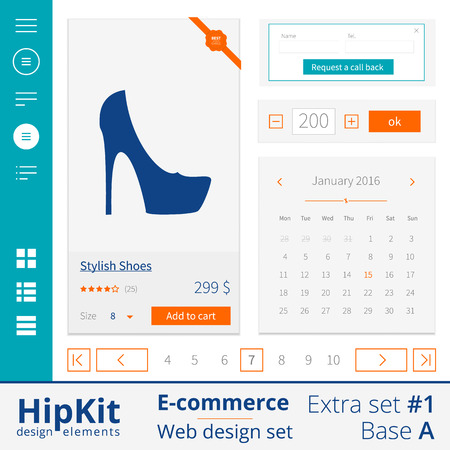 web side: E-commerce web design elements extra set 1. Base A. Contains side menu icons, catalogue type icons, item description with rating, price, and button, best choice tag, calendar, request a call back form and pagination. Line thickness fully editable. Text ou