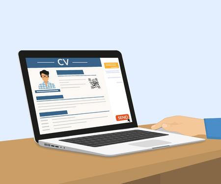 De mens is het verzenden van zijn CV via e-mail. Vector illustratie met laptop