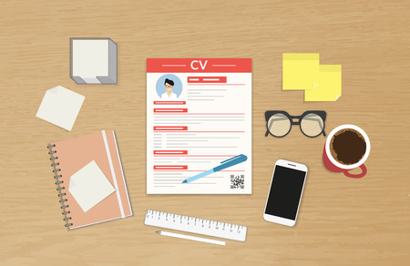 Realistic desktop design with CV template presentation Ilustracja