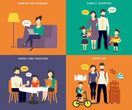 Familie mit Kinder Konzept flachen Icons Set von sozialen Netzwerken, Einkäufe machen, Reisen und Gast Restaurant