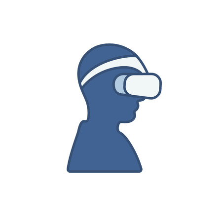 playstation: Blue icon with a man wearing virtual reality headset for 3d gaming Illustration