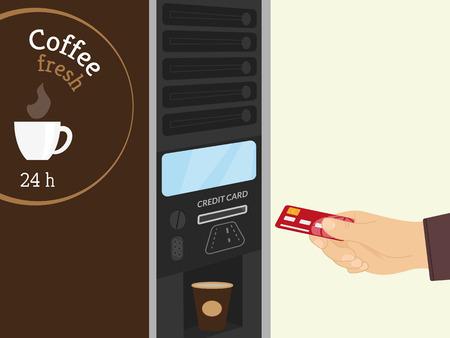 distribution automatique: Paiement par carte de cr�dit pour le caf� au distributeur automatique
