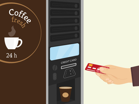 Payment by credit card for coffee at vending machine Vector