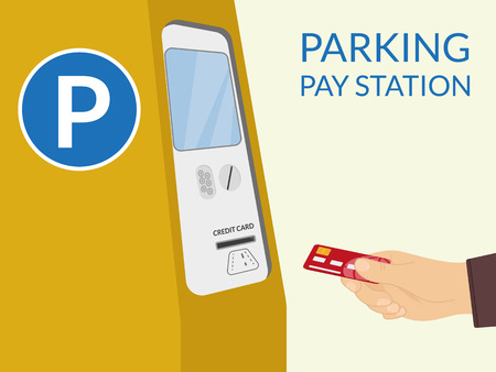 parking station: Payment by credit card at parking pay station Illustration