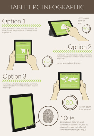 Template infographic visualization of usability tablet pc. Text outlined, free font Lato Ilustração