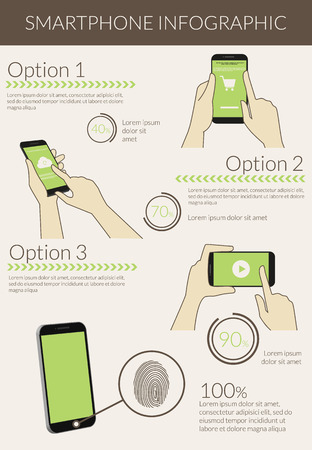 Template infographic visualization of usability smartphone. Text outlined, free font Lato Ilustração