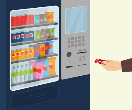 Payment by credit cart for a snack at vending machine Illustration