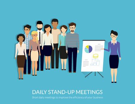 Dagelijks standup meeting met projectteam en manager. Platte illustratie. Geschetst tekst, gratis lettertype Lato