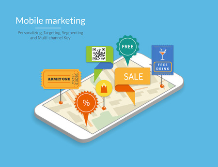 mobile shopping: Mobile marketing and personalizing. Smartphone with map and tags. Text outlined, free font Lato