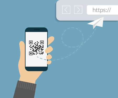 Man is scanning QR code via smartphone app then following the link to webpage Stock Illustratie