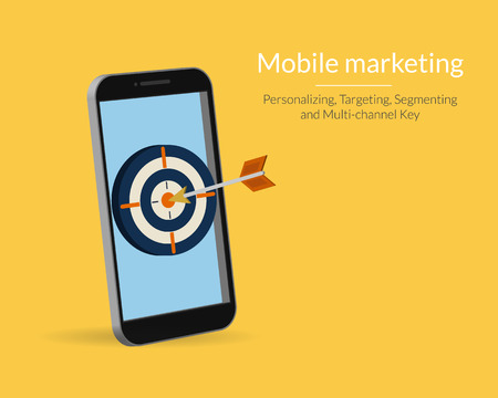 target market: Mobile marketing and targeting. Smartphone with dartboard in the screen. Text outlined, free font Lato
