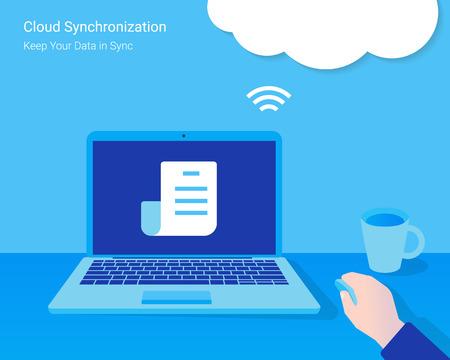 sincronizacion: Sincronizaci�n de nube. El hombre abri� un documento del servidor de la nube sincronizado Vectores