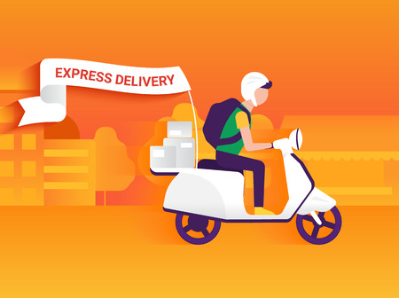 Courier riding white motorbike to deliver mails to the clients Illustration